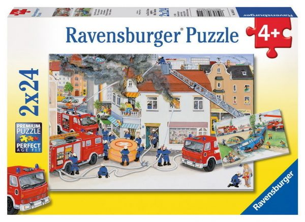 Busy Fire Brigade 2 x 24 PC Ravensburger Jigsaw Puzzle