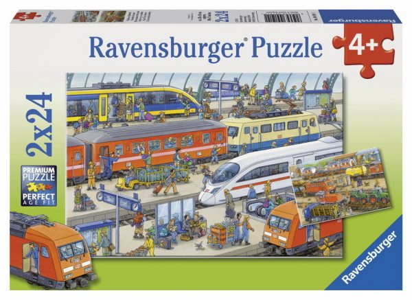 Busy Train Station 2 x 24 PC Ravensburger Puzzle