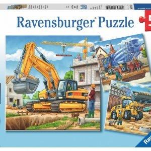 Construction Vehicle 3 x 49 PC Ravensburger Puzzle