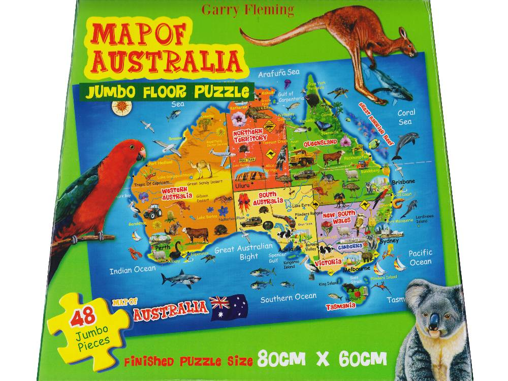Map Of Australia Jigsaw Puzzle.Map Of Australia 48 Pc Jumbo Floor Jigsaw Puzzle