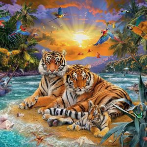 Tigers at Sunset 2000 PC Jigsaw Puzzle