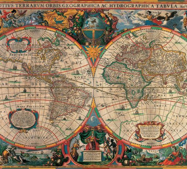 1000 piece jigsaw puzzle antique world map by pomegranate antique world map 1000 piece jigsaw puzzle gumiabroncs Choice Image