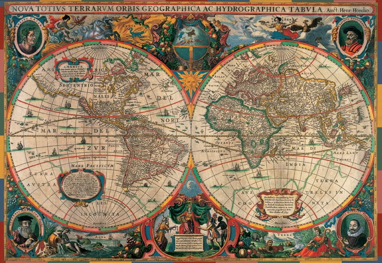 1000 piece jigsaw puzzle antique world map by pomegranate antique world map 1000 piece jigsaw puzzle gumiabroncs Images
