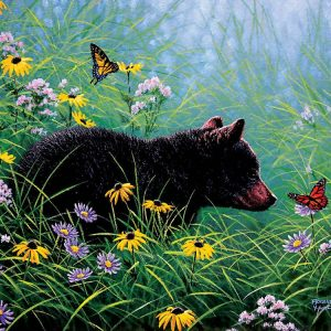 Black Bear & Butterflies 500 Piece Jigsaw Puzzle