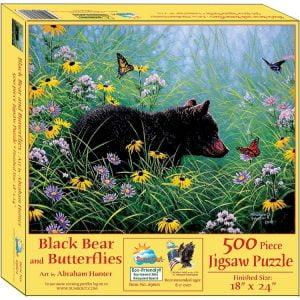 Black Bear & Butterfly 500 Piece Jigsaw Puzzle - Sunsout