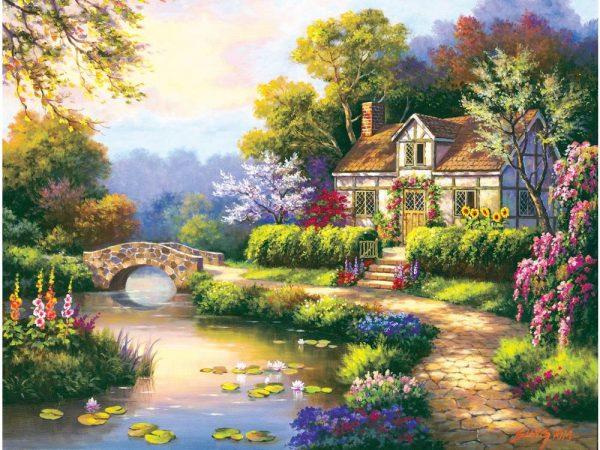Swan Cottage 300 Large Piece Jigsaw Puzzle