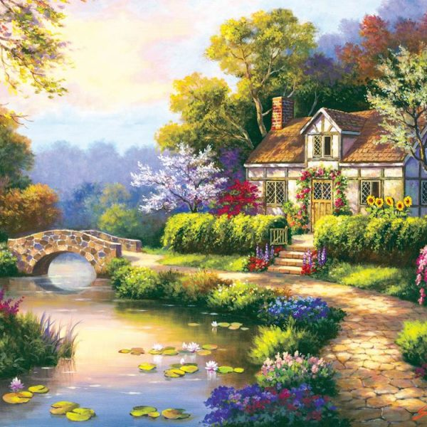 Swan Cottage 300 Large Piece Jigsaw Puzzle