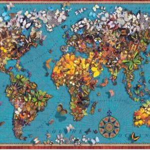 Butterfly World Map 1000 Piece Anatolian Puzzle
