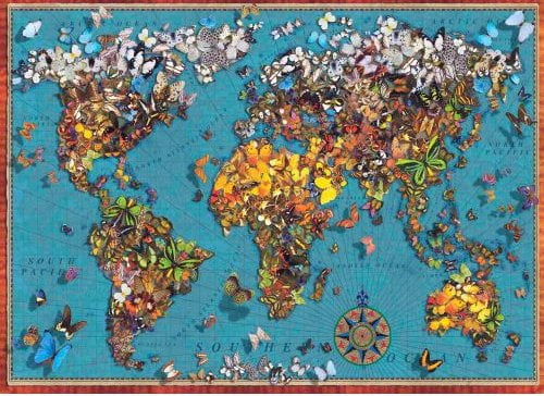 BUTTERFLY WORLD MAP PUZZLE 1000 PIECE FROM ANATOLIAN