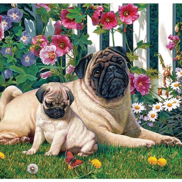 Pug Family 1000 Piece Cobble Hill Puzzle