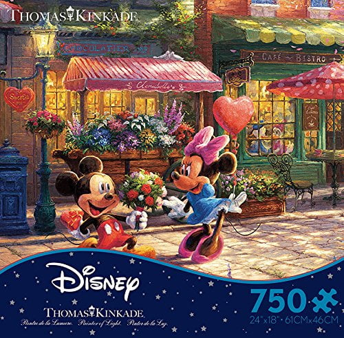 Thomas Kinkade Mickey & Minnie Sweetheart Cafe 750 Piece Puzzle