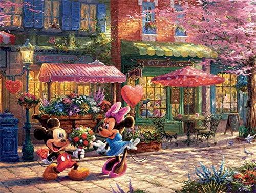 Thomas Kinkade Mickey & Minnie Sweetheart Cafe 750 Piece Puzzle