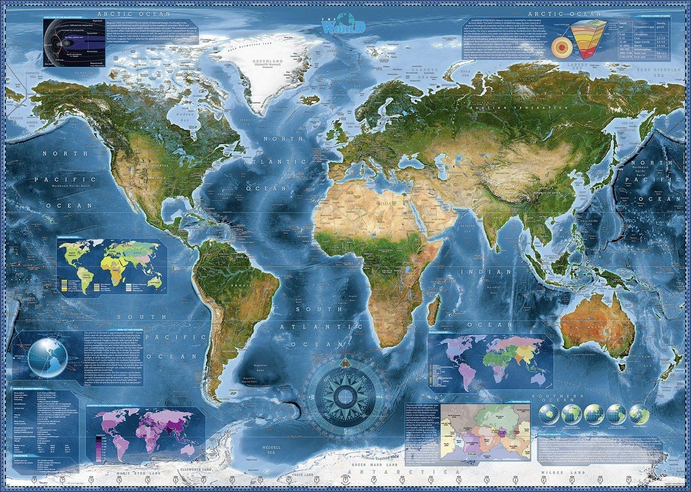Australia Map Jigsaw.World Satellite Map 2000 Piece Heye Jigsaw Puzzle