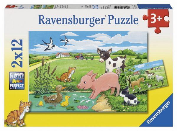 Baby Farm Animals 2 x 12 Piece Children's Jigsaw Puzzle