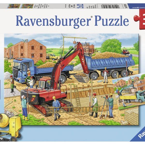 Busy Construction Site 2 x 12 Piece Ravensburger Puzzle