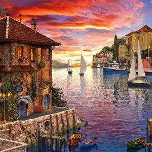 Dominic Davison - Mediterranean Harbour 1000 Piece Puzzle