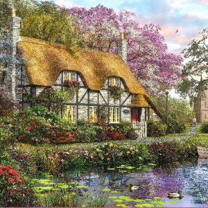 The White Stone Cottage 1000 Piece Jigsaw Puzzle