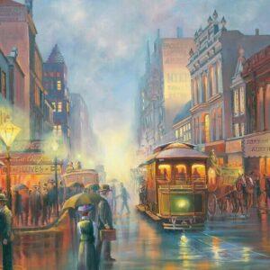 John Bradley - Trams in Gaslight 1000 Piece Jigsaw Puzzle - Blue Opal