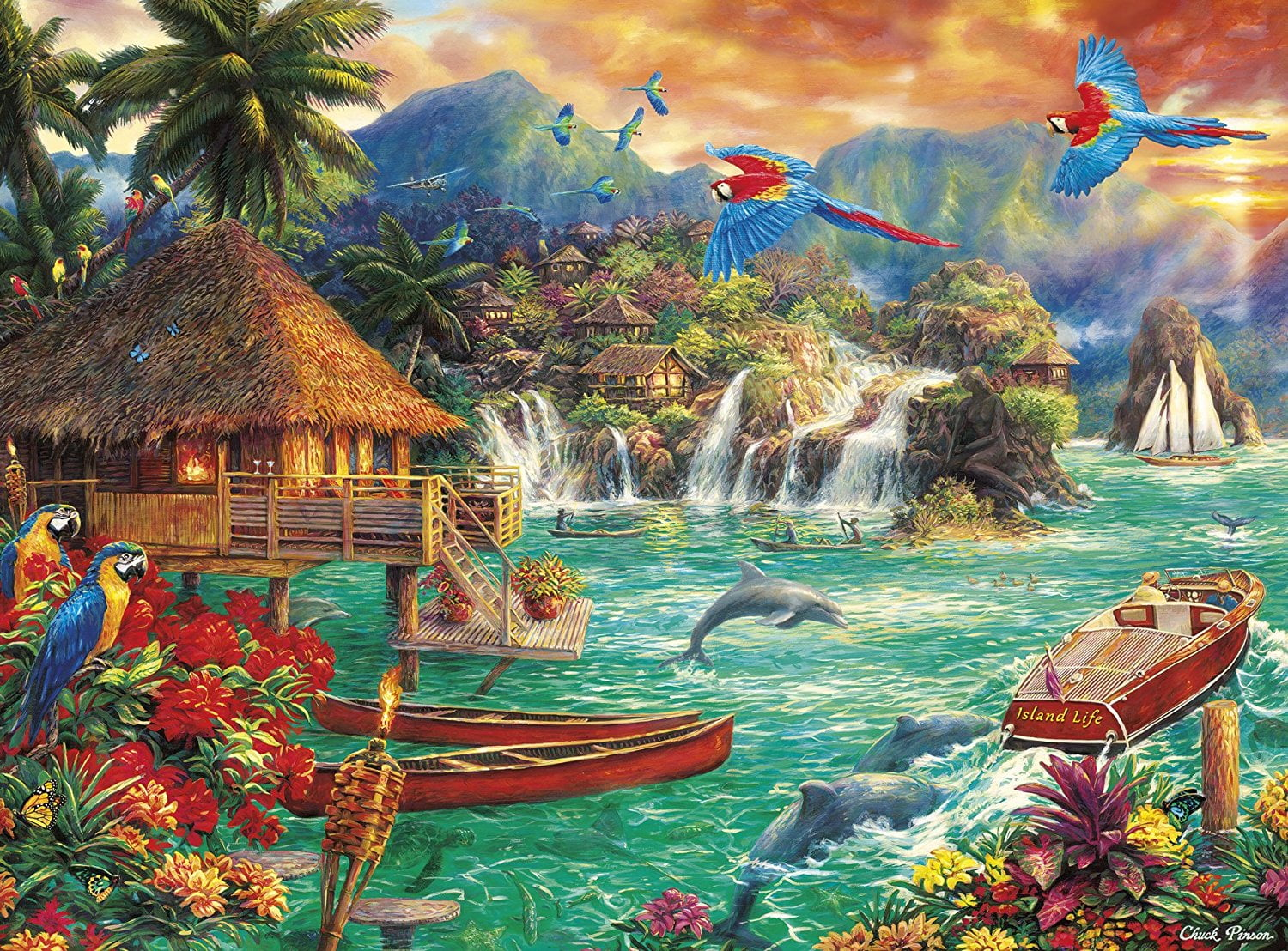 1000 Piece Puzzle Island Life By Chuck Pinson