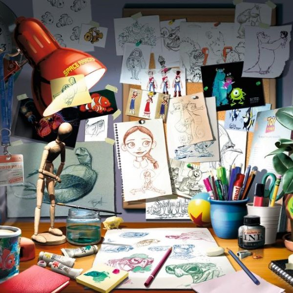 Disney Pixar The Artist's Desk 1000 Piece Ravensburger Puzzle