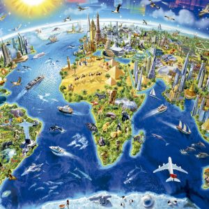 World Landmarks Globe 2000 Piece Educa Puzzle