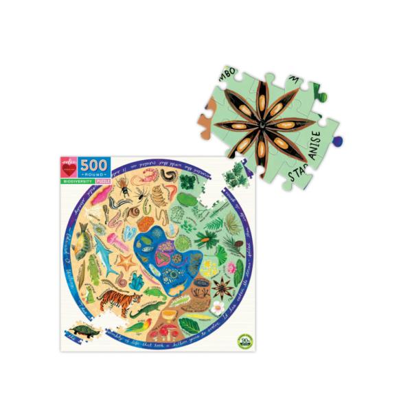 Biodiversity 500 Piece Round Jigsaw Puzzle - Eeboo