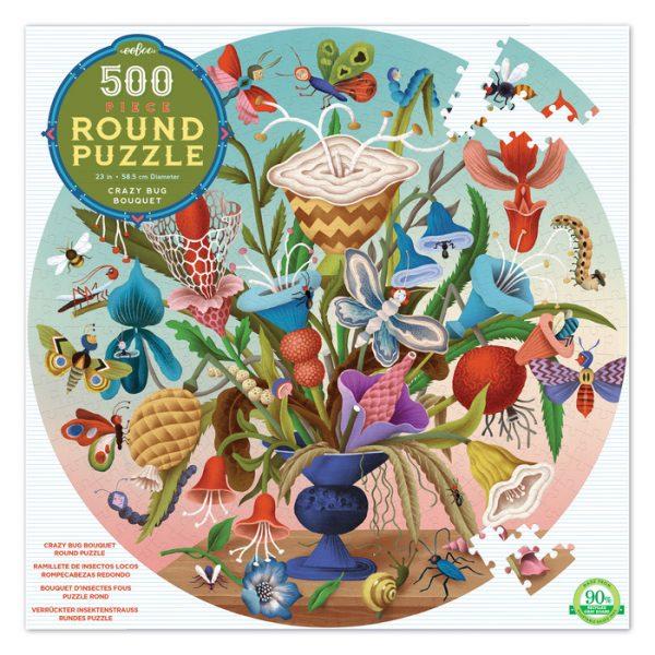 Crazy Bug Bouquet 500 Piece Round Puzzle – eeBoo