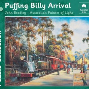 John Bradley - Puffing Billy Arrival 1000 Piece Jigsaw Puzzle - Blue Opal
