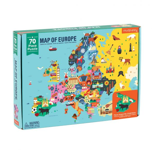Map of Europe 70 Piece Puzzle – Mudpuppy