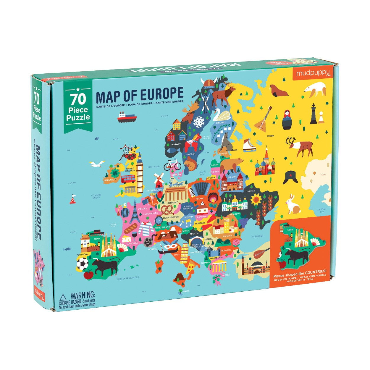 Map Of Europe 70 Piece Puzzle From Mudpuppy