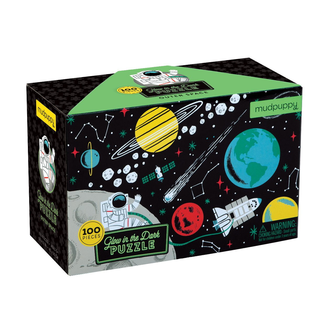 Outer Space Glow in the Dark 100 Piece Puzzle - Mudpuppy
