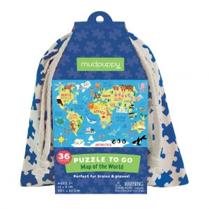 Puzzle to Go - Map of the World 36 Piece Puzzle - Mudpuppy