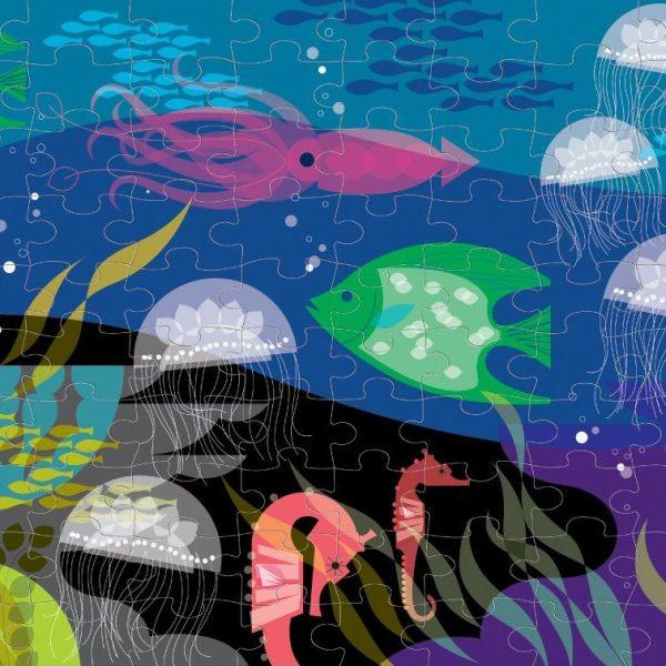 Under the Seas – Glow in the Dark 100 Piece Puzzle – Mudpuppy