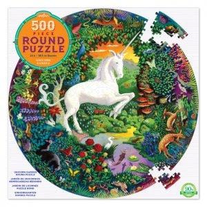 Unicorn Garden 500 Piece Round Puzzle - eeBoo