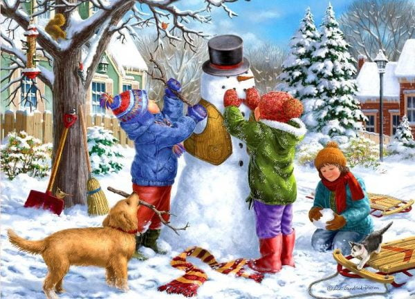 Young at Heart - Kids and the Snowman 500 XL Piece Puzzle