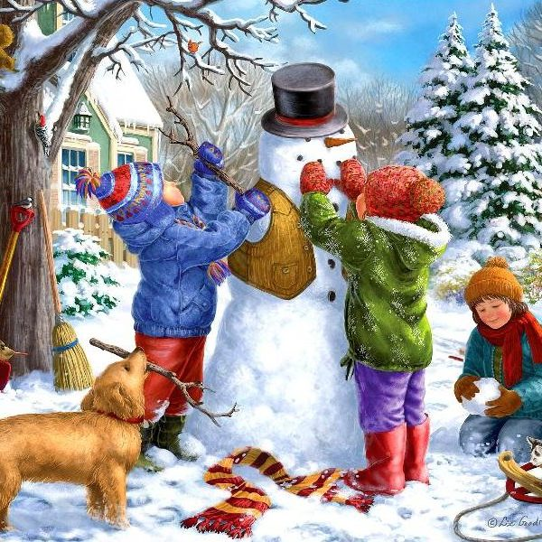 Young at Heart – Kids and the Snowman 500 XL Piece Puzzle