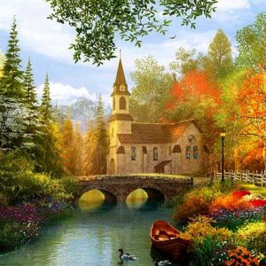 Dominic Davison - Autumn Church 1000 Piece Puzzle