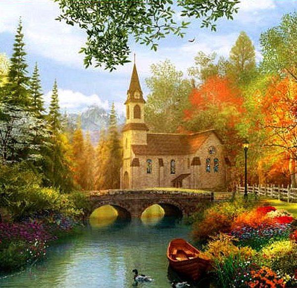 Dominic Davison – Autumn Church 1000 Piece Puzzle