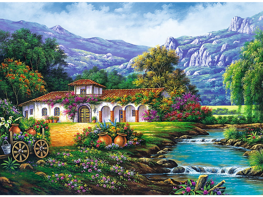 hacienda by the stream 3000 piece trefl jigsaw puzzle. Black Bedroom Furniture Sets. Home Design Ideas
