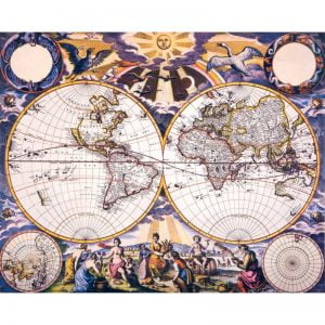 17th Century Double Hemisphere World Map 1000 Piece Puzzle