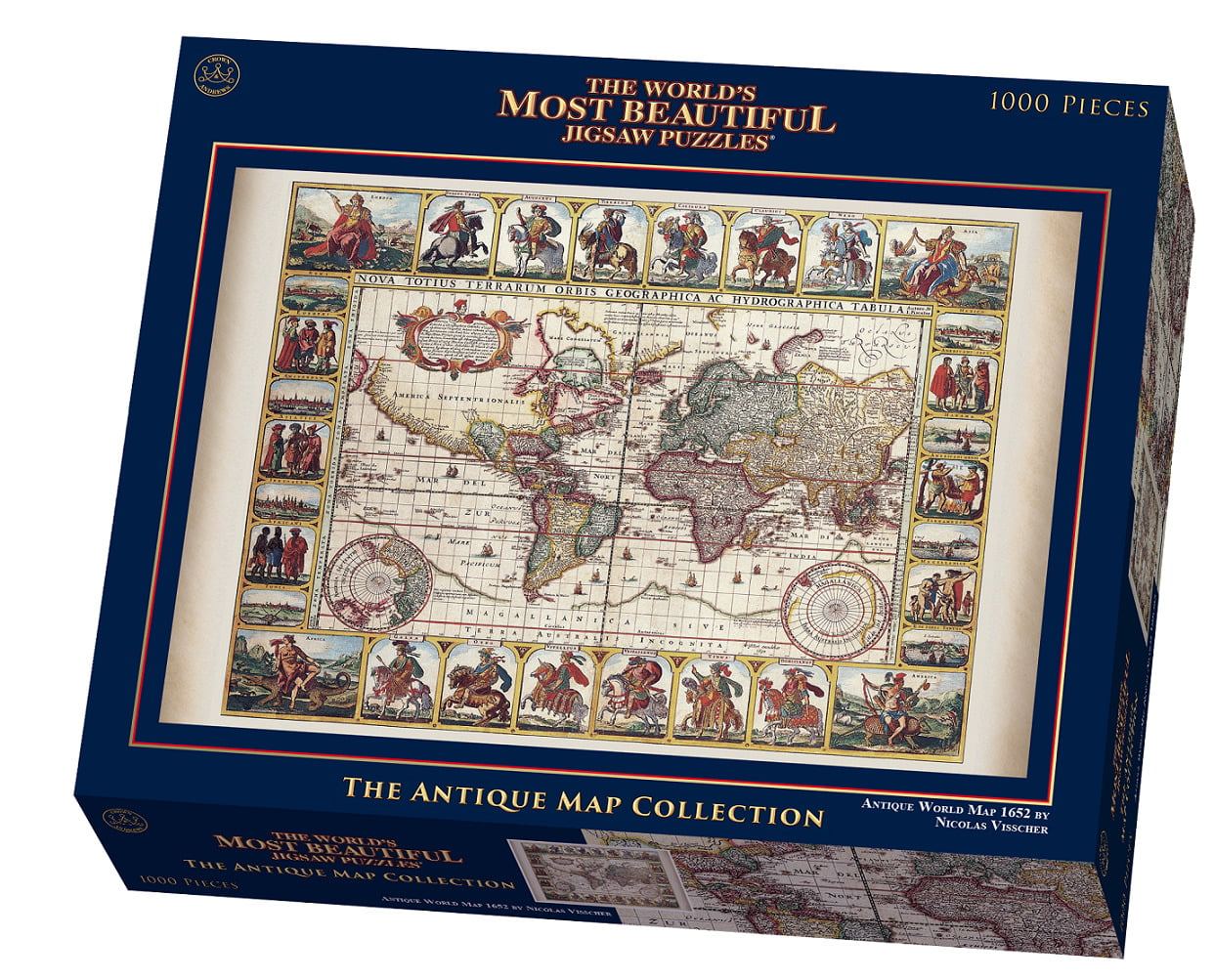 1000 piece puzzle antique world map 1652 by nicolas visscher antique world map 1000 piece puzzle gumiabroncs Choice Image