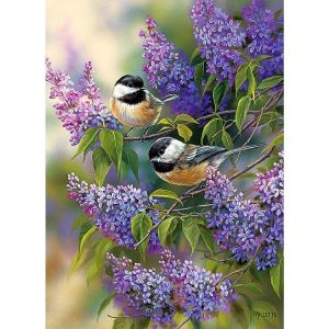 Chickadees & Lilacs 1000 Piece Puzzle - Cobble Hill
