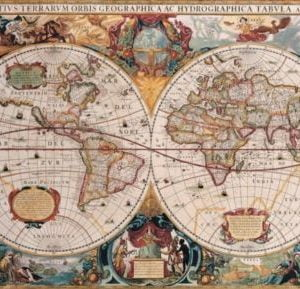 Double Hemisphere World Map - Henricus Honduius 1630 1000 Piece Puzzle