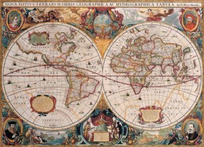Double Hemisphere World Map - Henricus Honduius 1630 1000 Piece Puzzle