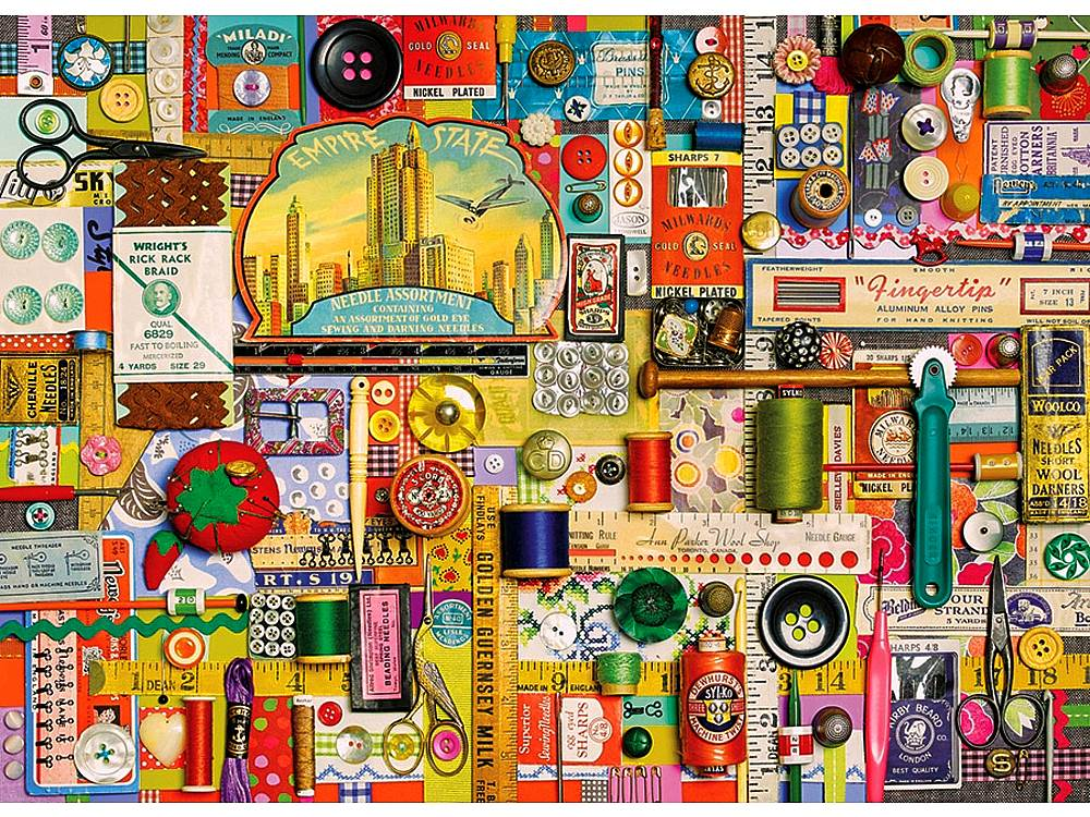 Cobble Hill Jigsaw Puzzle Sewing Notions 1000 Piece