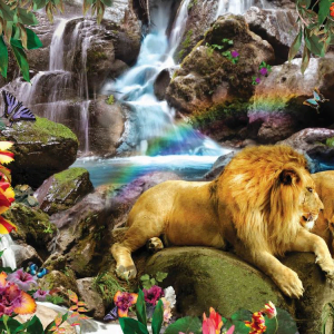 Love Lion Waterfall 1000 Piece Puzzle by Sunsout