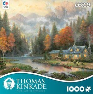 Thomas Kinkade Evening at Autumn Lake 1000 Piece Puzzle