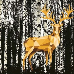 Touch of Gold - Deer in the Birch Forest 1200 Piece Puzzle