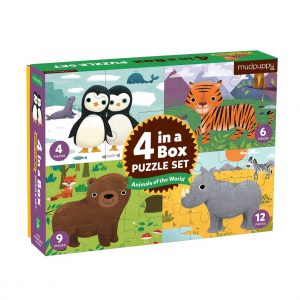 4 in a Box Puzzle Set - Animals of the World - Mudpuppy
