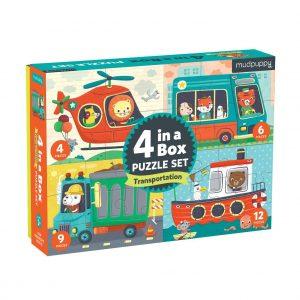4 in a Box Puzzle Set - Transportation - Mudpuppy